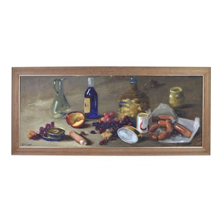 Vintage 1960's Impressionist Still Life Painting, of Wine Grapes Sausage and Apple by Ferraneo For Sale