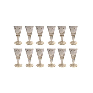 Crystal Fluted Wine Goblets With Gilt Rim and Detail - Set of 12 For Sale