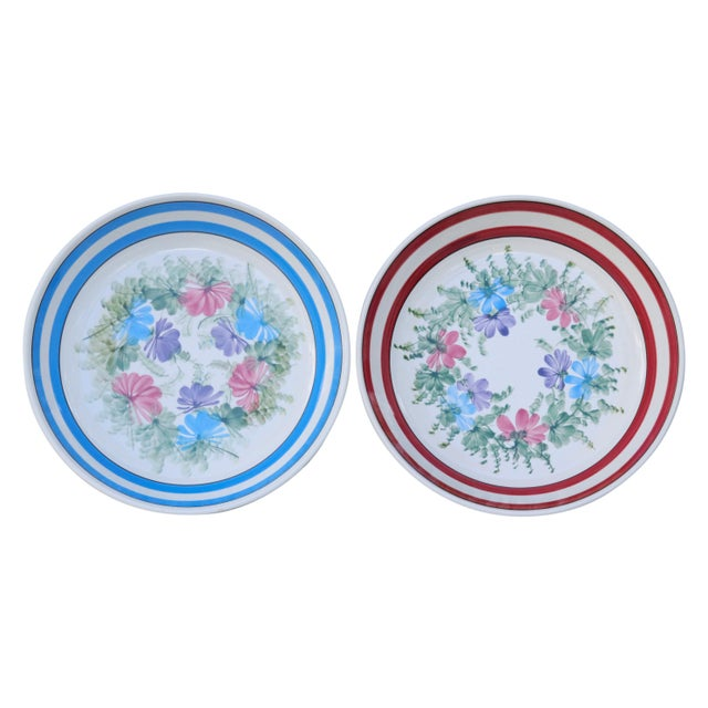 A pair of large 1970's coordinating hand painted ceramic bowls. Made in Italy for Gary Valenti Housewares of New York....