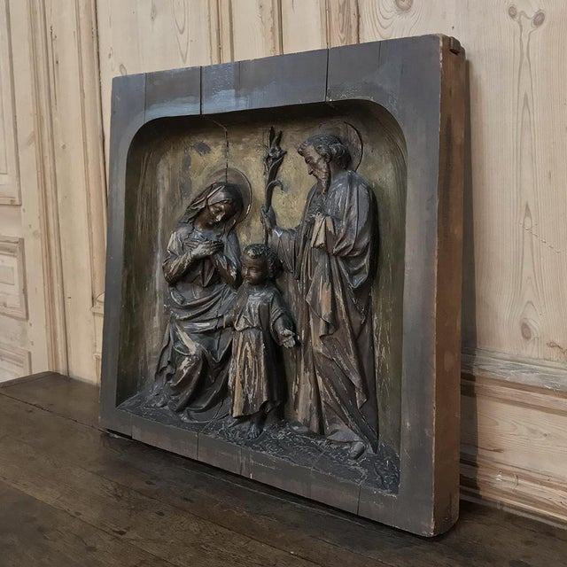 Mediterranean 19th Century Carved Panel of the Holy Family For Sale - Image 3 of 11