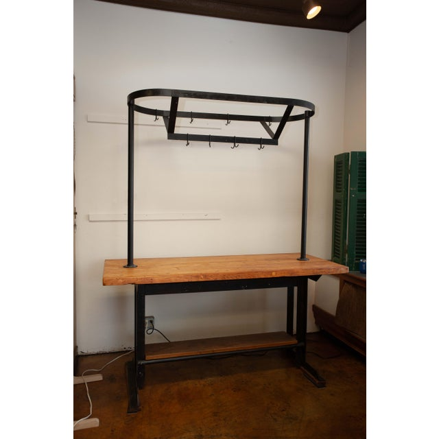 Brown Industrial Kitchen Island With Pot Rack For Sale - Image 8 of 8