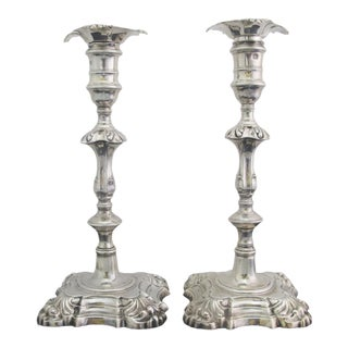 Antique George II Sterling Silver Candlestick John Cafe London 1752 - a Pair For Sale