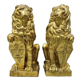 "1970s Vintage 27"" Italian Terracotta Gold Leaf Large Lion Statues- A Pair For Sale"