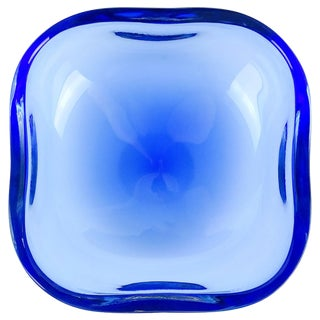 Oggetti Murano Sommerso Cobalt Blue Italian Art Glass Centerpiece Bowl For Sale
