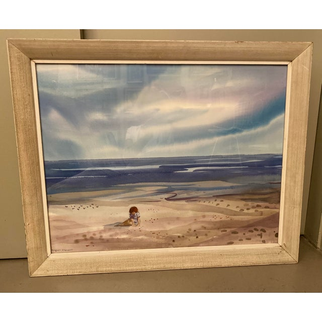 Coastal Mid 20th Century Floridian Seascape Watercolor Painting by Shirley Clement, Framed For Sale - Image 3 of 9