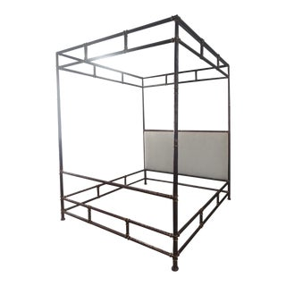 Henredon Furniture Jeffrey Bilhuber Hammered Metal Bank St Queen Canopy Bed For Sale