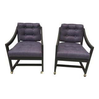 1970s Scandinavian Modern Dark Lavendar Wood Framed Club Chairs - a Pair For Sale