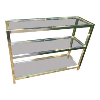 1970s Hollywood Regency Heavy Metal / Chrome and Brass Plated Console Table For Sale