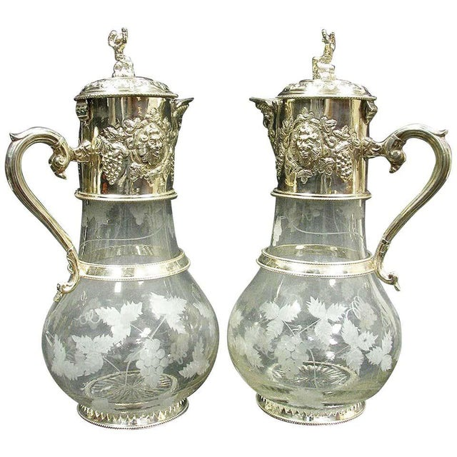 English Sliver Plated and Engraved Glass Claret Jugs - a Pair For Sale - Image 10 of 10