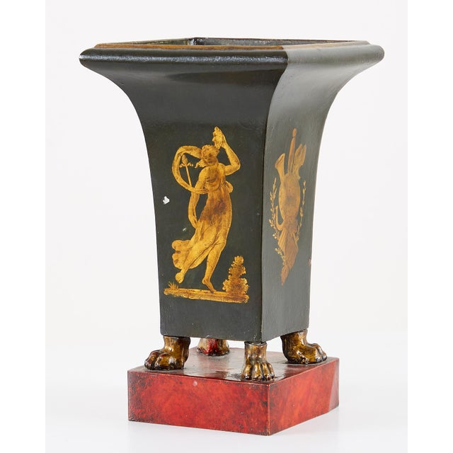 French Neoclassical Directoire Style Tole Vases - a Pair For Sale - Image 9 of 13
