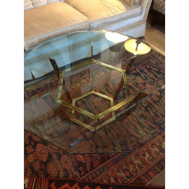 Modern 70's Modern Brass & Glass Coffee Table For Sale - Image 3 of 5