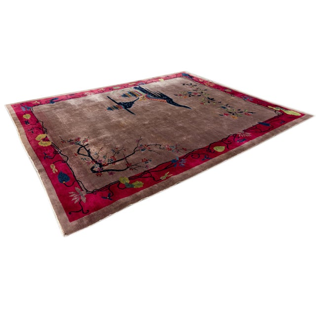 1920s Vintage Purple Chinese Art Deco Wool Rug 9 Ft X 11 Ft 6 In. For Sale - Image 5 of 13