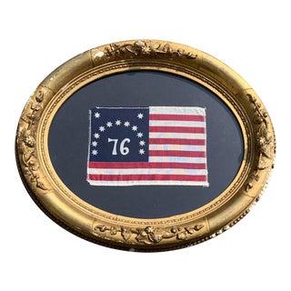 Bennington Flag Bicentennial American Flag in Antique Gilt Frame For Sale