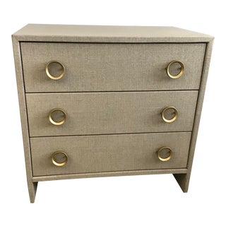 Todd Hase Burlap Wrapped Nightstand Gray Finish For Sale
