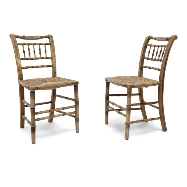 Pair of Faux Bamboo Side Chairs For Sale - Image 11 of 11