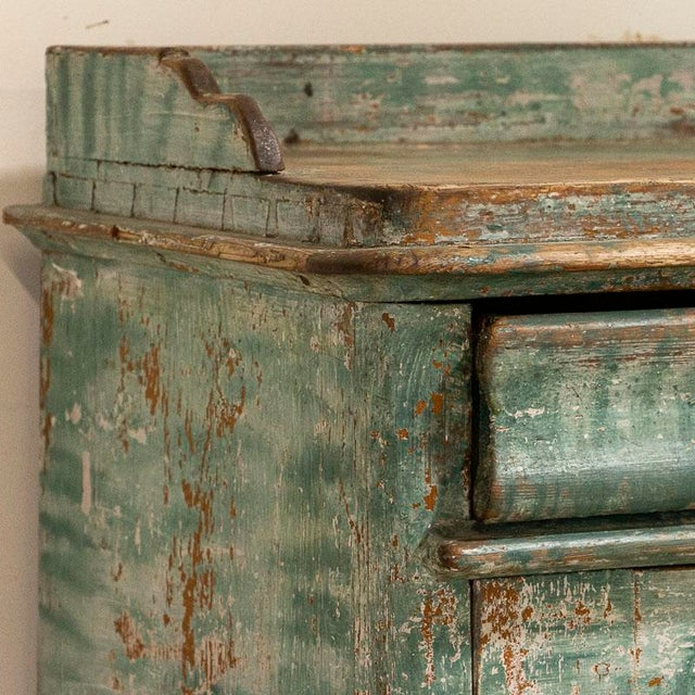 Antique Original Teal Green Folk Art Painted Sideboard For Sale - Image 6 of 11
