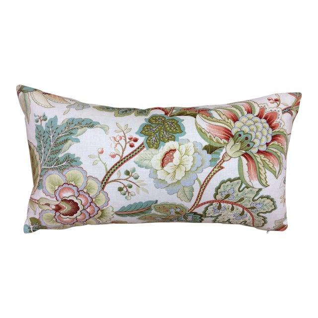 Contemporary Floral Linen Pillow For Sale