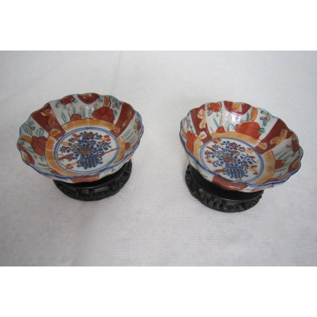 Asian Vintage Japanese Bowls With Stands - Pair For Sale - Image 3 of 6