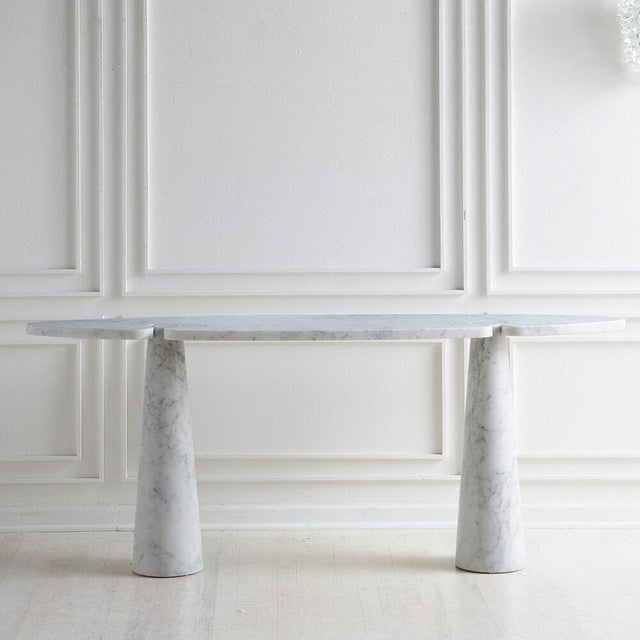 Stone White Carrara Marble Eros Console Table by Angelo Mangiarotti for Skipper, Italy For Sale - Image 7 of 7