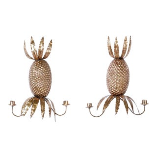 Anglo Indian Brass Pineapple Wall Sconces - a Pair For Sale