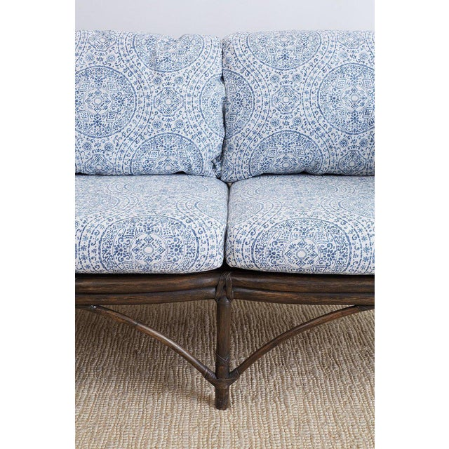 White McGuire Blue and White Upholstered Bamboo Rattan Sofa For Sale - Image 8 of 12