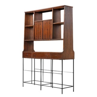 Broyhill Saga Mid-Century Modern Room Divider Bookcase Hutch For Sale