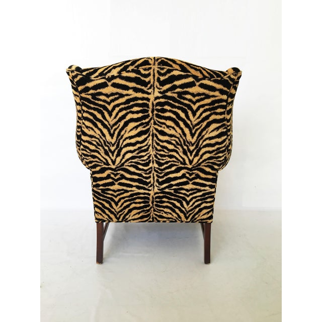 Wood Georgian Style Mahogany Wingback Armchair in Scalamandré Le Tigre For Sale - Image 7 of 8