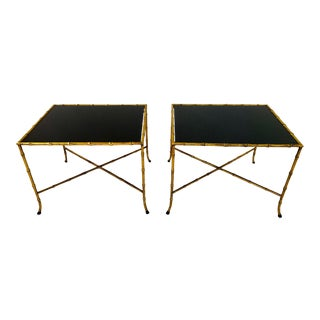 Pair French Gilt Iron Faux Bamboo Side Tables For Sale