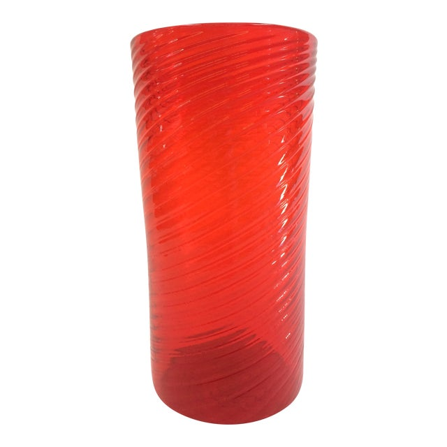 Tall Red Orange Hand Blown Glass Vase - Image 1 of 5