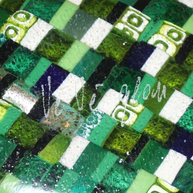 Modern Italian Jewel-Like Green Yellow & 24Kt Gold Murano Art Glass Mosaic Bowl For Sale - Image 9 of 11