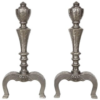 Art Nouveau Hammered Nickel Andirons - a Pair For Sale