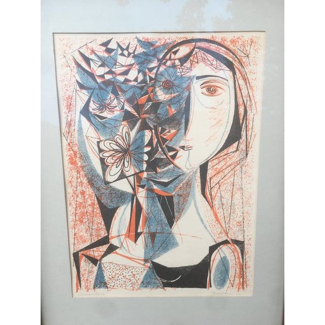 Abstract Vintage Mid-Century Richard Zoellner Abstract Woman Flower Lithograph Print For Sale - Image 3 of 13