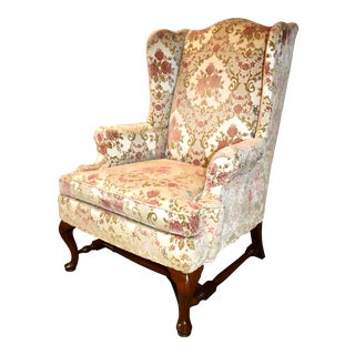 1970s Vintage Hickory Chair Co. Floral Wing Chair For Sale
