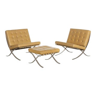 1970s Vintage Mies Van Der Rohe Barcelona Chairs and Ottoman- 3 Pieces For Sale