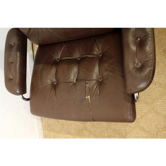 Mid-Century Danish Modern Ekornes Stressless Chrome Lounge Chair/Ottoman For Sale - Image 5 of 11