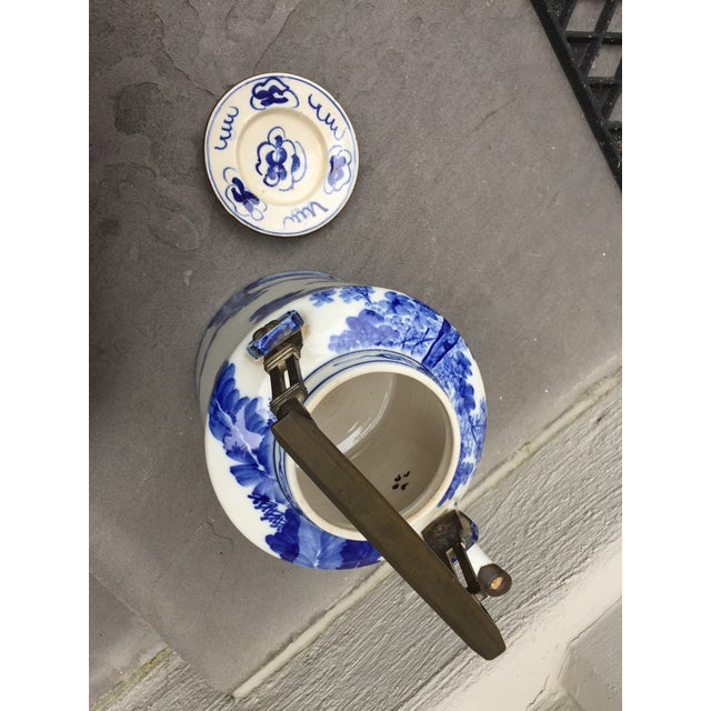 Early 20th Century 20th Century Chinoiserie Teapot Brass Handle and Brass Trim For Sale - Image 5 of 9