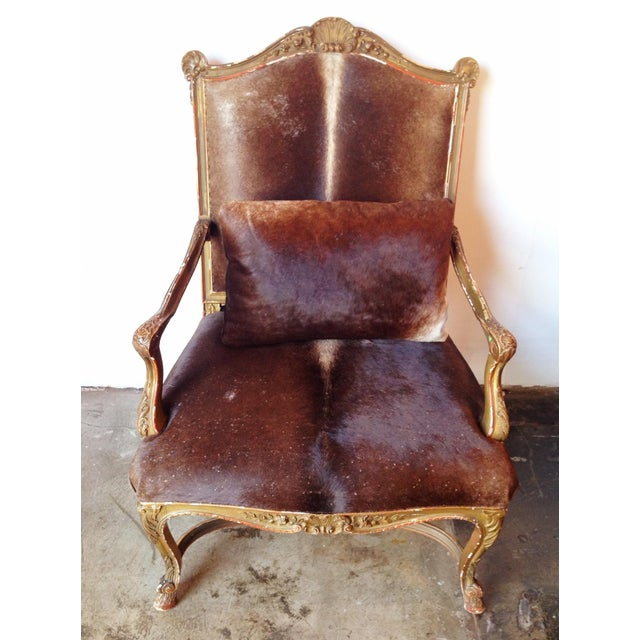 Gilded Hide Arm Chair - Image 3 of 7