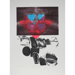 """Gary Lee Shaffer """"Figure With Hearts"""" Large Abstract Expressionist Print, 1991 1991 For Sale"""