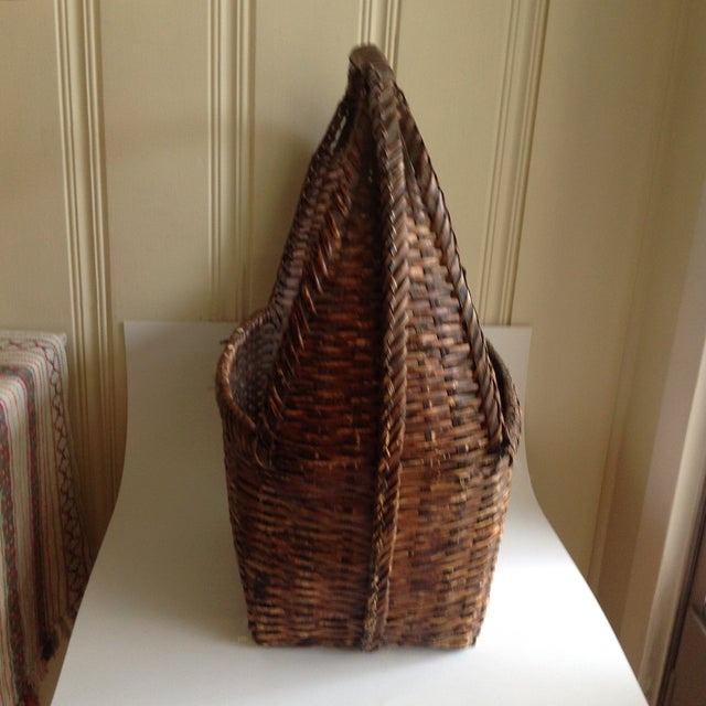 Rustic Woven Wicker Basket For Sale In Los Angeles - Image 6 of 9