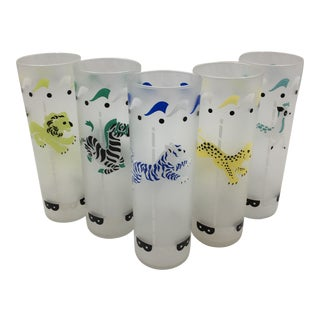 1960s Vintage Libbey Frosted Carousel Tom Collins Glasses - Set of 5 For Sale