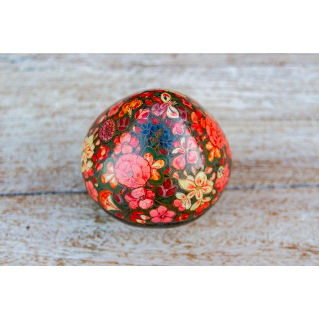 Boho Chic Floral Kashmiri Hand Painted Box For Sale - Image 3 of 6