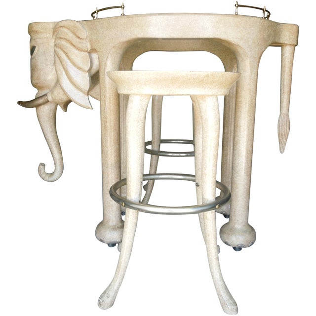 Metal Rare Three Piece 1980s Elephant Bar Table and Stools by Marge Carson For Sale - Image 7 of 7