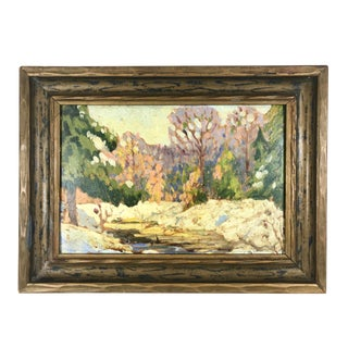 1920's Plein Air Landscape Forest Stream Painting in Rustic Wood Frame For Sale