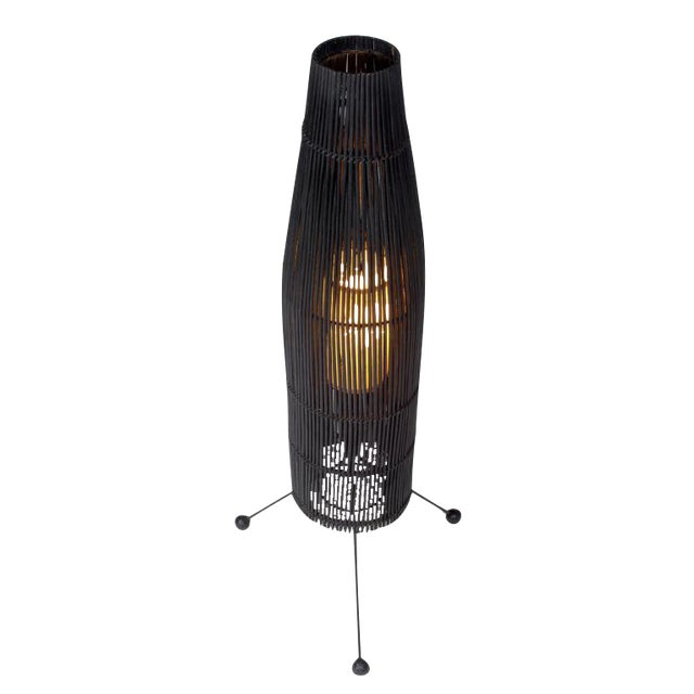 Tony Paul for Raymor Black Wicker Fish Trap Floor Lamp For Sale
