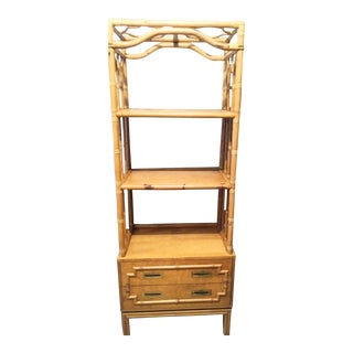 Vintage Ficks Reed Tall Etagere Rattan Bamboo Tower Cabinet With Drawer For Sale