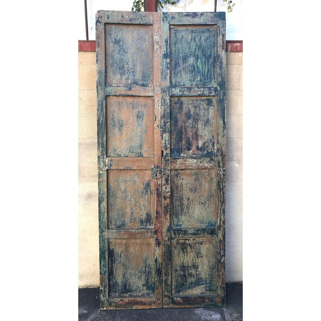 Blue Pair of 19th Century Painted Doors For Sale - Image 8 of 9