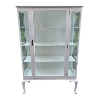 Boho Chic Glass China Cabinet Display Case For Sale