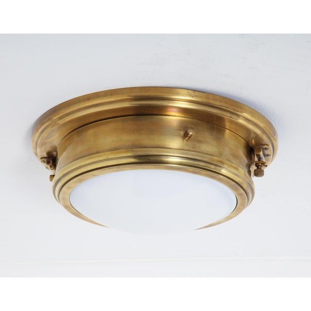 Brass Ralph Lauren Marine Porthole Flushmount in Natural Brass, - Set of 7 For Sale - Image 8 of 8