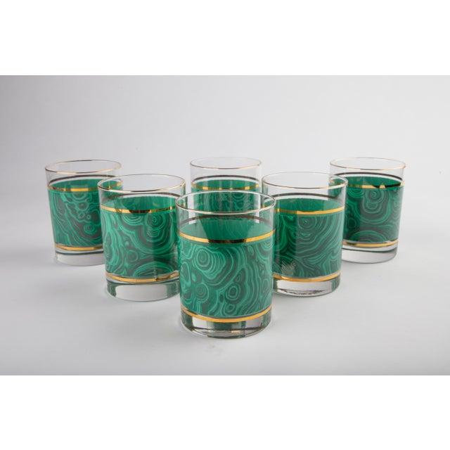 Hollywood Regency Set of 6 Nieman Marcus Malachite Glasses For Sale - Image 3 of 6