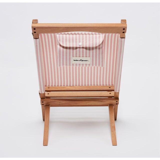 Mid-Century Modern 2 Piece Outdoor Chair - Lauren's Pink Stripe For Sale - Image 3 of 5